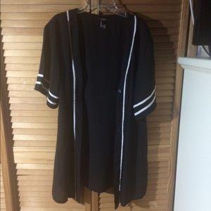 Tops - Black & White Baseball Blouse