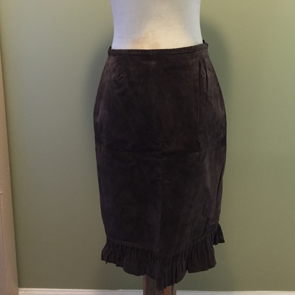 newport news genuine leather suede skirt sz 6 from