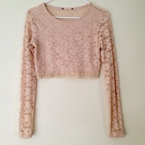 Forever 21 Tops - Nude Pink Lace Crop Top