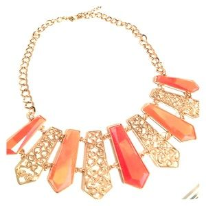 Gold and coral collar necklace