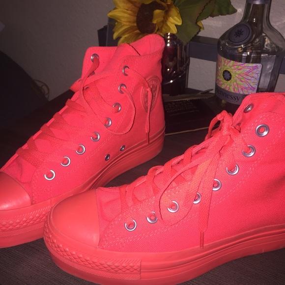 a28d683140f3 Converse Shoes - Neon orange pink High Top Platform Converse
