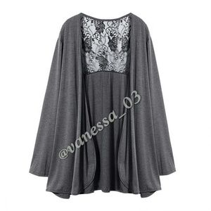 Tops - Gray Cardigan with Black Lace back.
