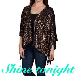 Sweaters - Batwing sleeve shrug with front animal print