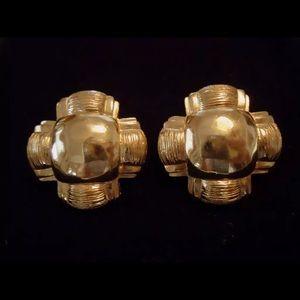Karl Lagerfeld Jewelry - Vintage KARL LAGERFELD Maltese Cross Gold Earrings