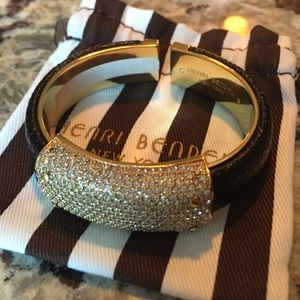 henri bendel Jewelry - Henri Bendel leather and crystal cuff