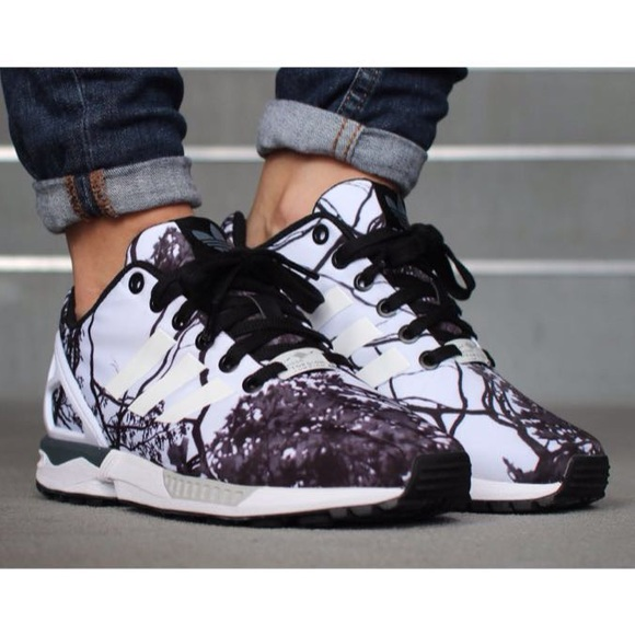 new arrival 5b28e f6e52 Adidas Shoes - Adidas ZX Flux black and white tree branch pattern