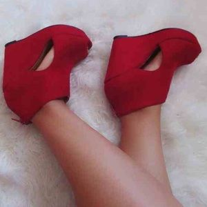 Red Cut Out Shoes