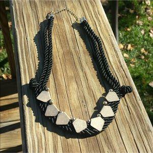 Black & gold rope necklace boho style