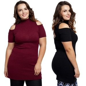 Sweaters - Plus Size Cut Out Long Sweater Black or Burgundy