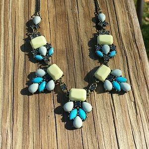 Pastel blue and yellow crystal statement necklace