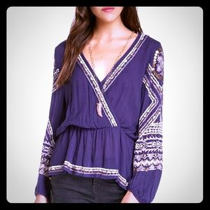 """Free People """"Stitch Up Your Heart"""" Peasant Blouse"""
