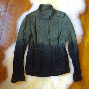 Jackets & Blazers - Green & Black Ombré Military Utility Jacket