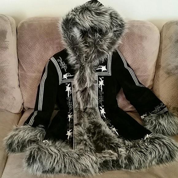 Suede Eskimo Furry Trim Gorgeous