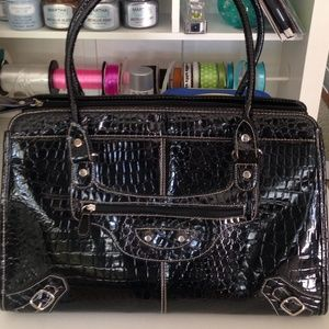 Croc Bag or Business Tote Faux Patent