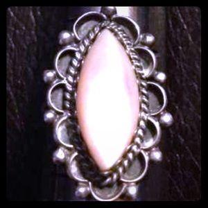 Vintage Jewelry - 🎀Vintage Signed Sterling Silver Pink MOP Ring🎀