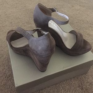 New Gabbay gray suede wedge sandals for sale