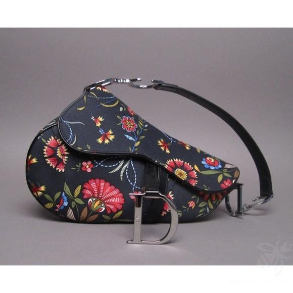 6b39bae504be Dior Handbags - Christian Dior Russian flower saddle bag
