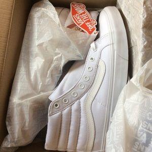 10b665c62e Vans Shoes - Vans Sk8-Hi Tonal Slim White Canvas Sneakers