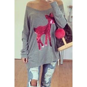 Sequin Reindeer Long Sleeve Tee