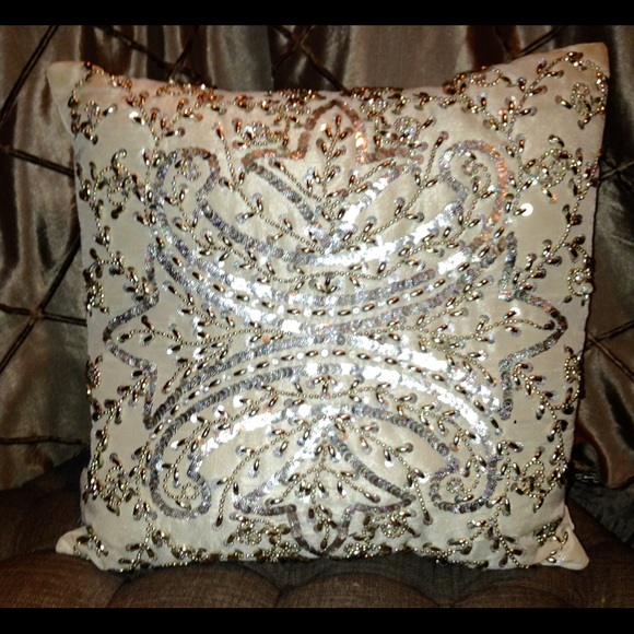 chanel other jaclyn hill silver gold beaded sequin pillow throw