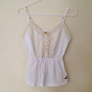 Hollister Tops - Lace Hollister Tank Top White