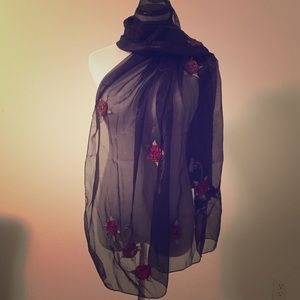 Accessories - sheer pashmina with flowers
