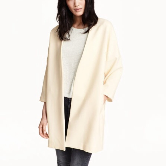 56% off H&M Jackets & Blazers - H&M Short Coat in Natural White ...