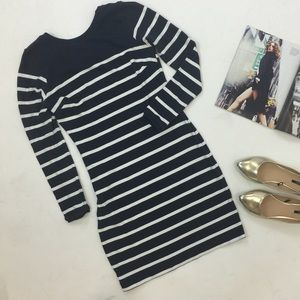 Zara Dresses & Skirts - Navy Striped Long Sleeve Knit Bodycon Dress