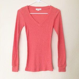 Forever 21 Tops - Peach Long Sleeve Ribbed V Neck Shirt