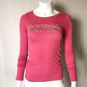 Abercrombie Hot Pink Print Logo Long Sleeve Top