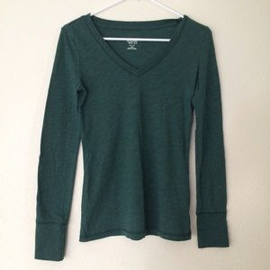 Mossimo Supply Co. Tops - Green V Neck Long Sleeve Top