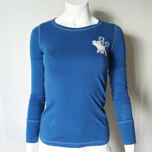 Abercrombie Blue Long Sleeve w/ Embroidered Moose