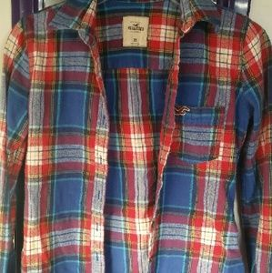 Hollister dod hollister red white and blue plaid shirt for Red white and blue plaid shirt
