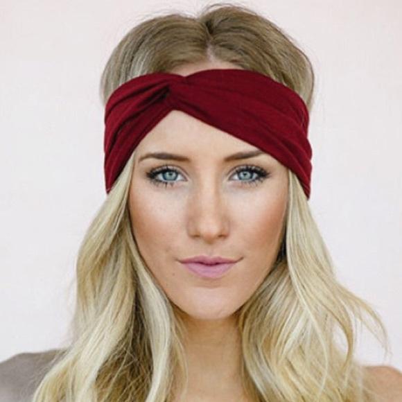Maroon burgundy turban twist headband red soft f90893aacab
