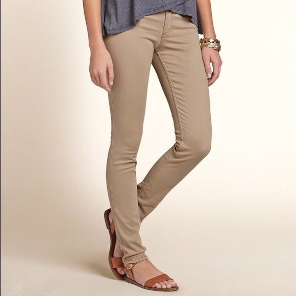 78% off Hollister Pants - NWOT Hollister Khaki Super Skinny Jeans ...