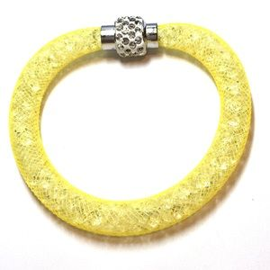  Yellow Crystal mesh bracelet magnetic clasp