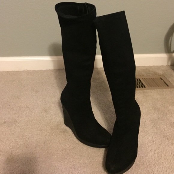 dff65224d4e Impo Shoes - Black impo stretch calf high wedge boots