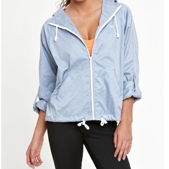 New HURLEY Women/'s Blue Stripe Winchester Button Fleece Hooded Blazer Jacket $59