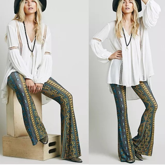 cfa29d6308c7e Bell Bottom Hippie Boho Print Flare Pant S Boutique