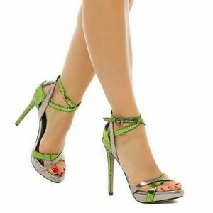 Shoedazzle Shoes - Shenice heeled sandals in pewter and lime green.