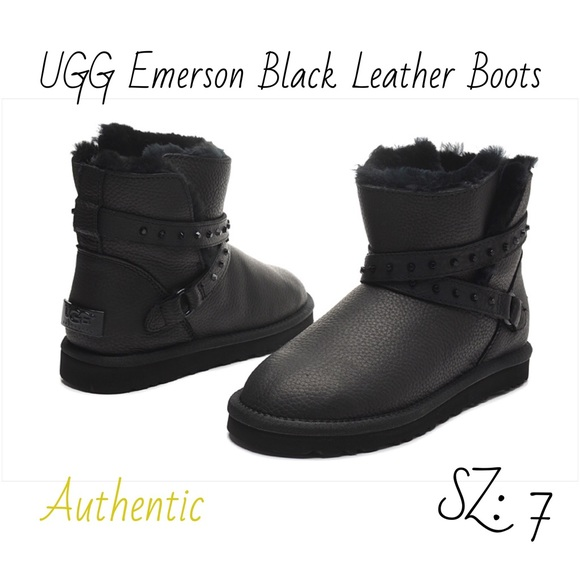 UGG Emerson Black Leather Studded Mini Boots SZ: 7