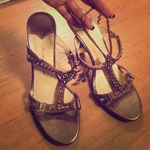 Limited Edition Shoes - Pewter Heel Sandals
