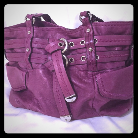 61% off b. makowsky Handbags - B. Makowsky magenta purple leather ...