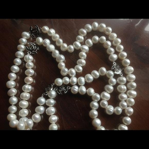 5d047a255 CHANEL Jewelry | 50 Genuine Pearls With 5 Enamel Cc Logos | Poshmark