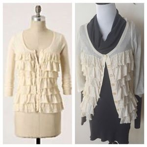 Anthropologie Sweaters - Anthro sparrow ruffled cardigan