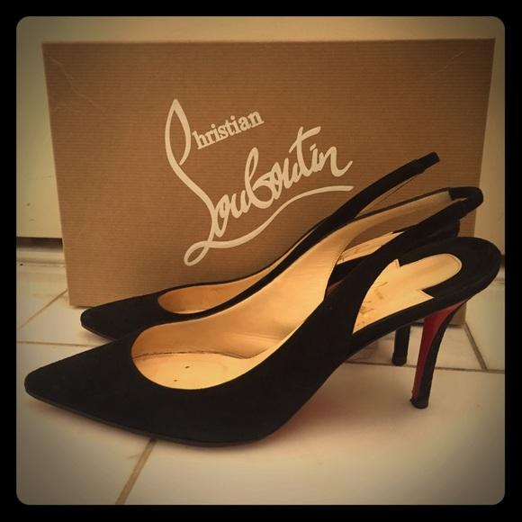 Christian Louboutin Shoes - Christian Louboutin Apostrophy Sling black heels 3e9e48c32