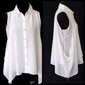 D5 Asymmetrical Layered Flowing Ivory Top Blouse