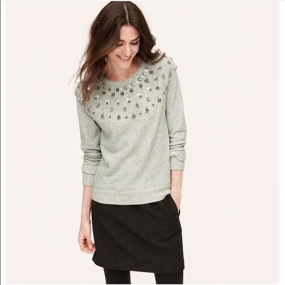 65% off LOFT Tops - LOFT Fair Isle Embellished Sweatshirt Size M ...