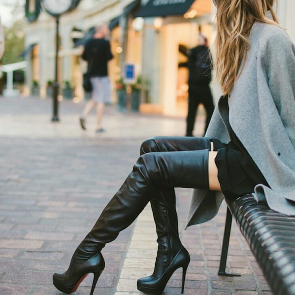 70% off Guess by Marciano Shoes - Guess Thigh High Black Leather ...