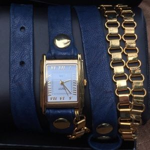 La Mer Collection navy blue leather watch